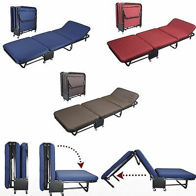 Folding Bed Rollaway Guest Bed Steel Frame With Foam Mattress With Cover 2 Sizes Folding Rollaway Bed Frame