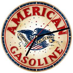8 WALL CLOCK  Vintage Looking Sign Garage #19 American Gasoline Oil Car Service