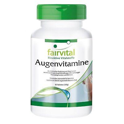 Augenvitamine 60 Tabletten, komplettes Multivitamin + Augenvitalstoffe fairvital - Zeaxanthin Auge
