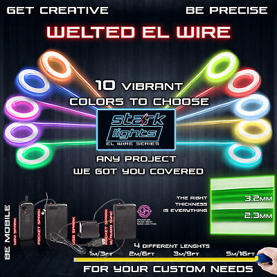 Welted Neon LED Light Glow EL Wire Control String Strip Rope Tube Clothing Wear - Lights Clothing