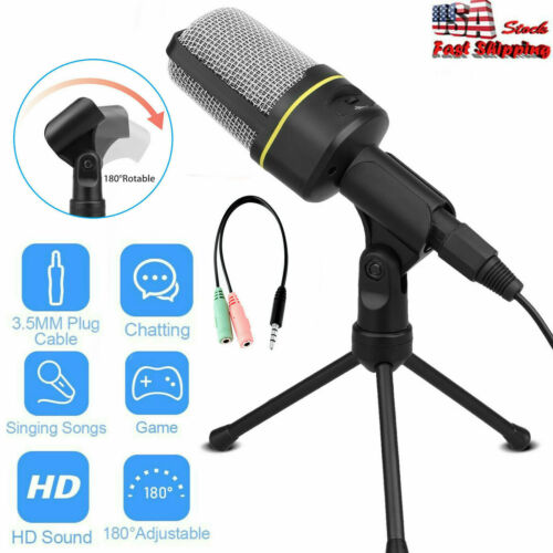 3.5mm Condenser USB Microphone Mic Tripod Stand Recording Fo