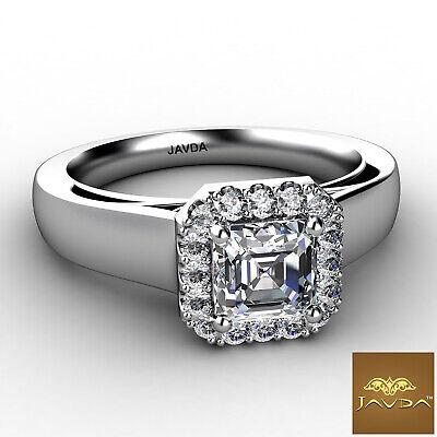 Asscher Diamond Engagement GIA H VVS2 18k White Gold Halo Pave Set Ring 0.7Ct 1