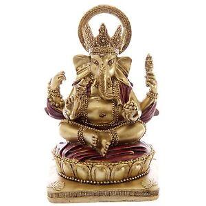 Gold and Red Ganesh Sitting 14cm Ganesha Idol Chandra Nadi Pooja Puja Room