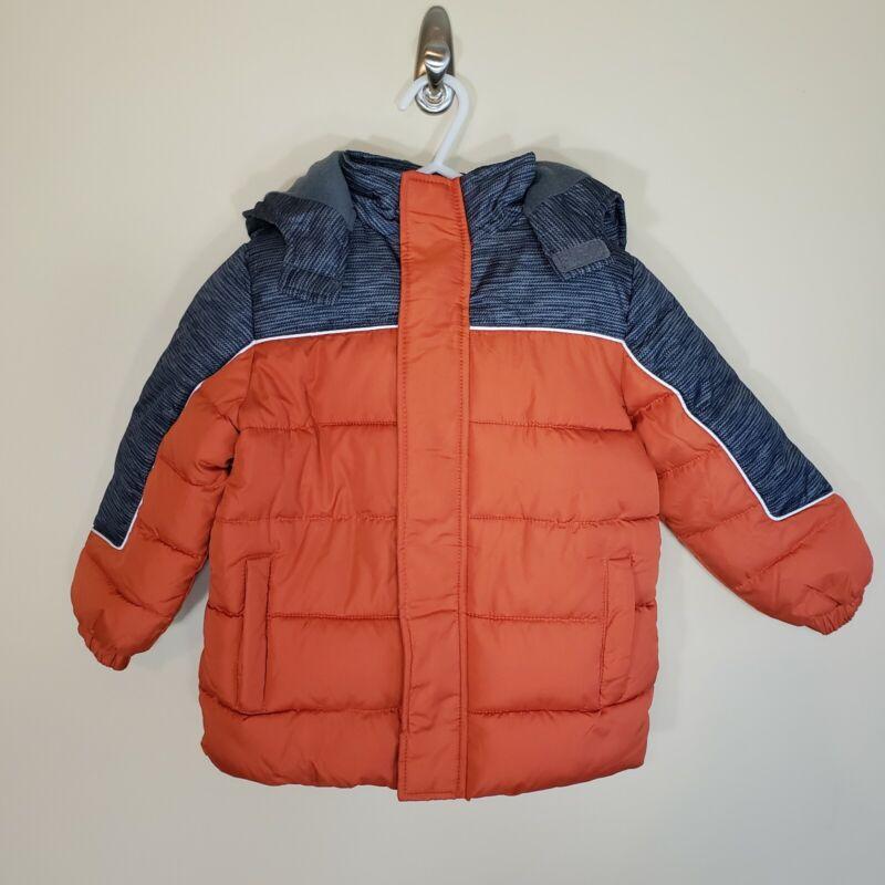 Ixtreme Orange Gray Puffer Zip Up Hooded Coat Size 3T