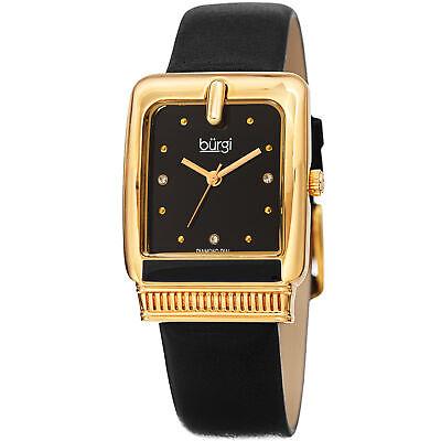 Women's Burgi BUR192BK Quartz Diamond Marker Rectangle Black Leather Strap Watch