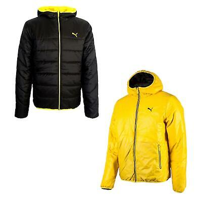 Puma NG Reversible Mens Padded Jacket Hooded Coat Black Yellow 825751 14