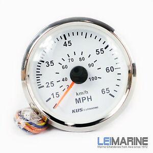 KUS Stainless Steel Bezel Speedometer Gauge 85mm 12/24V Marine Boat Car White