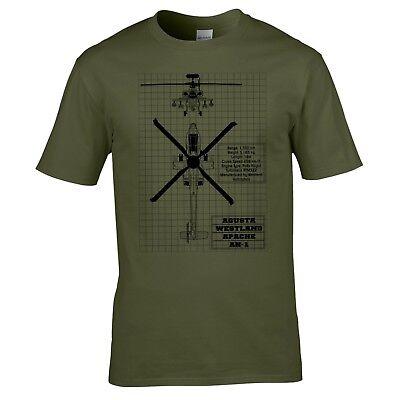 Apache Ah 1 Blueprint T Shirt   Ah64 Helicopter Army Air Corps Raf Plane Augusta