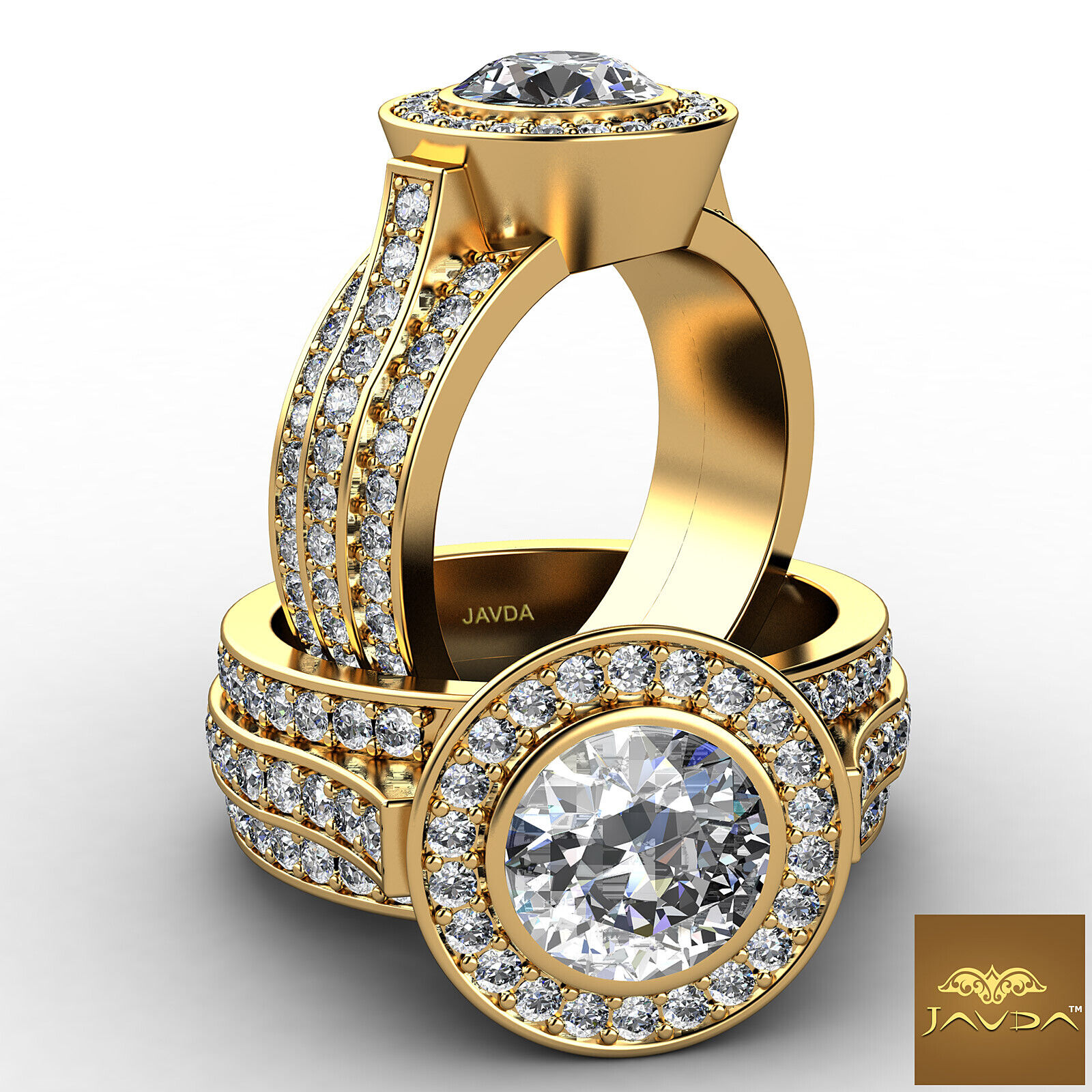 3 Row Shank Shared Prong Round Diamond Engagement Bezel Ring GIA I VS2 3.15 Ct
