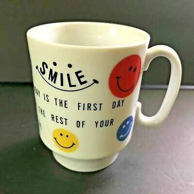 Smiley Face Mug Vtg 1960s Japan Today First Day of Rest of Your Life 3.5