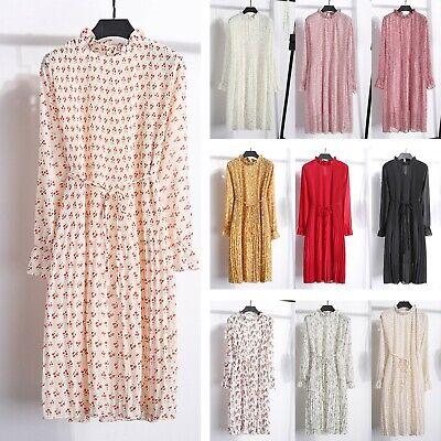 Women's Boho Floral Long Sleeve Chiffon Pleated Dress Lady Vintage Casual Skirt