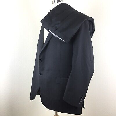 Hart Schaffner Marx Black Herringbone Two Button 100% Worsted Wool Suit 52L 52W  (Wool Herringbone Two Button)