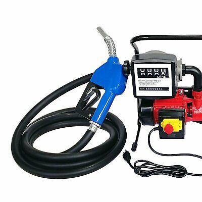 Electric Oil Transfer Pump Hose Nozzle Mechanical Fuel Meter Commercial 40lmin