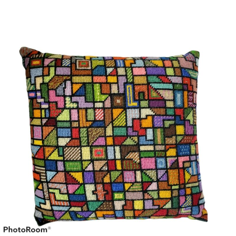 Vintage Handmade Colorful Abstract Geometric Needlepoint Pillow