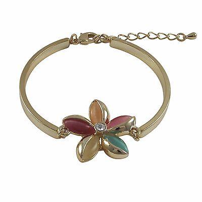 Gold Plated Multi Color Cat Eye Flower Girls Teens Bangle Bracelet Cat Eye Flowers Bracelet