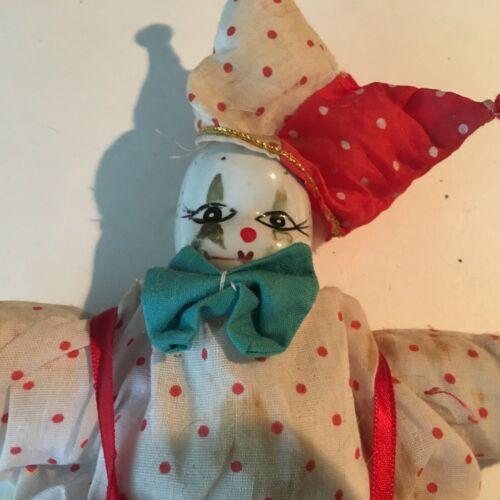 "VTG Halloween Clown Ceramic Porcelain Head/Limbs  Cloth Body 7""Collectibles S-6"