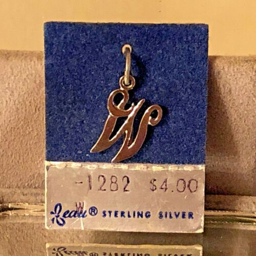 """NEW VTG Sterling Silver Beau Initial """"W"""" Charm Pendant 3/4"""" On original card"""