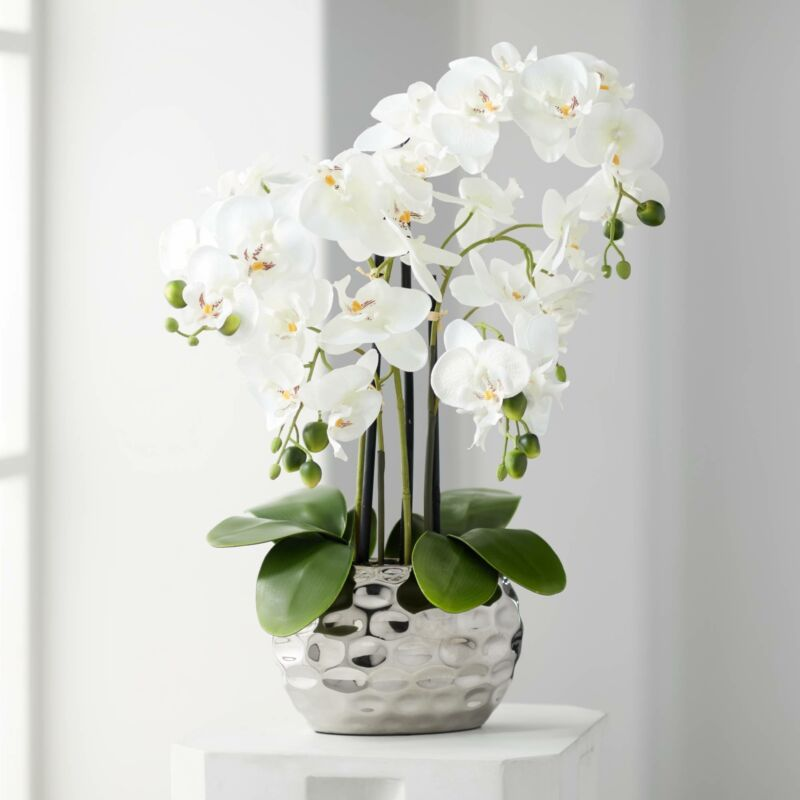 """White Phalaenopsis 23""""H Faux Orchid in Silver Ceramic Pot"""
