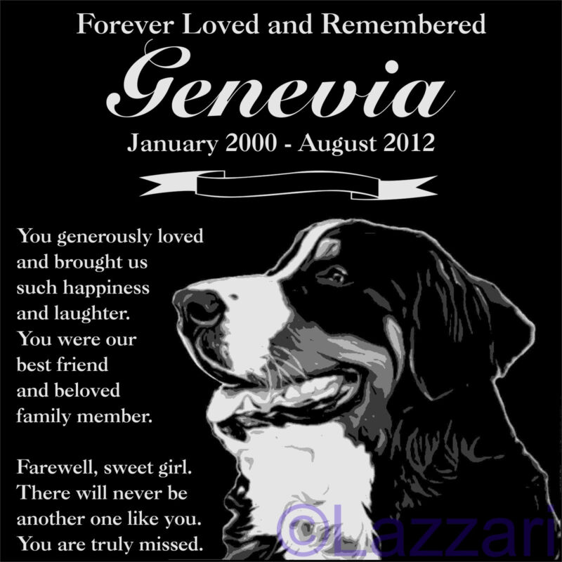 "Personalized Bernese Mountain Dog Pet Memorial 12"" Customized Granite Headstone"