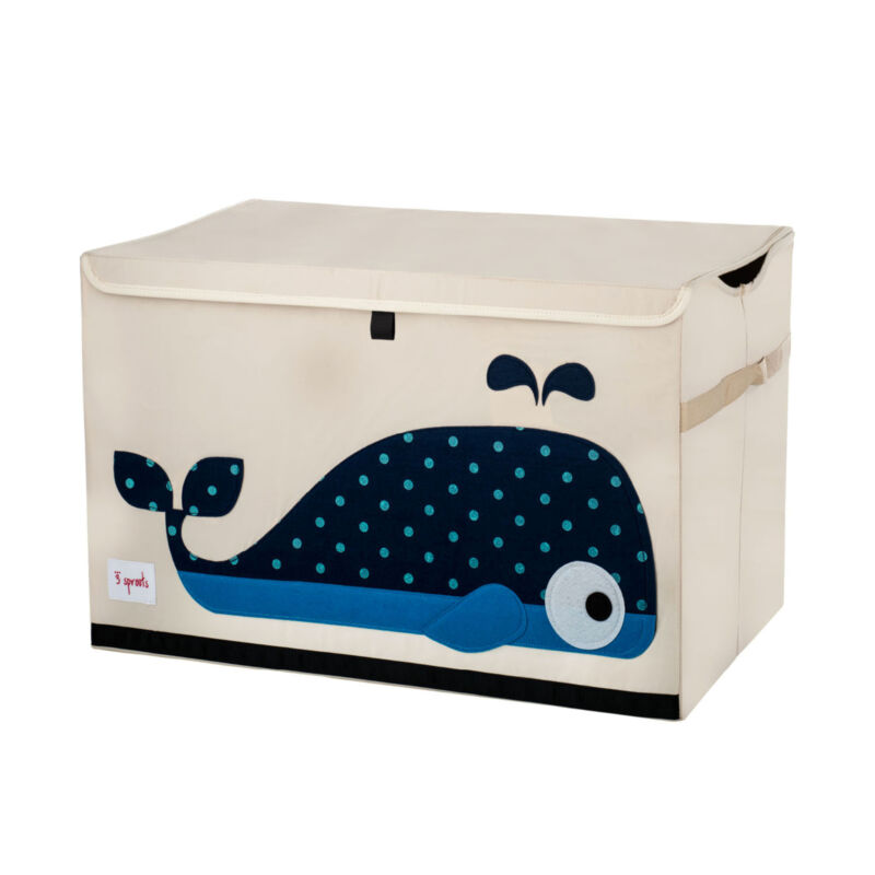 3 Sprouts Kids Toy Chest - Storage Trunk for Boys and Girls Room, Whale
