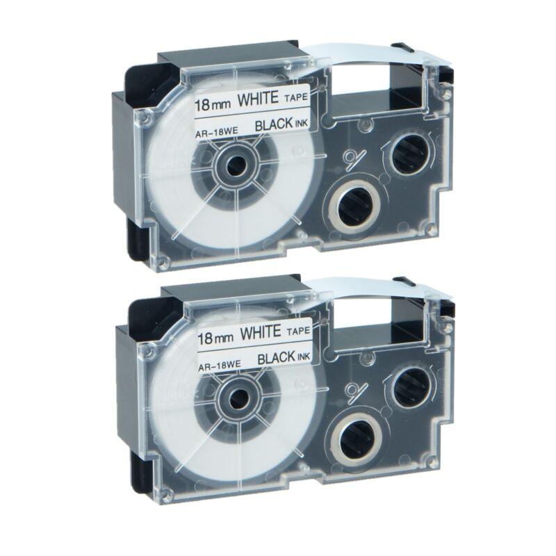 2PK Compatible Casio XR-18WE Black on White Label Tape for EZ KL7000EDU 18MM