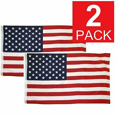 3×5 Ft American Flag w/ Grommets ~2 Pack~ USA United States of America ~US Flags Collectibles