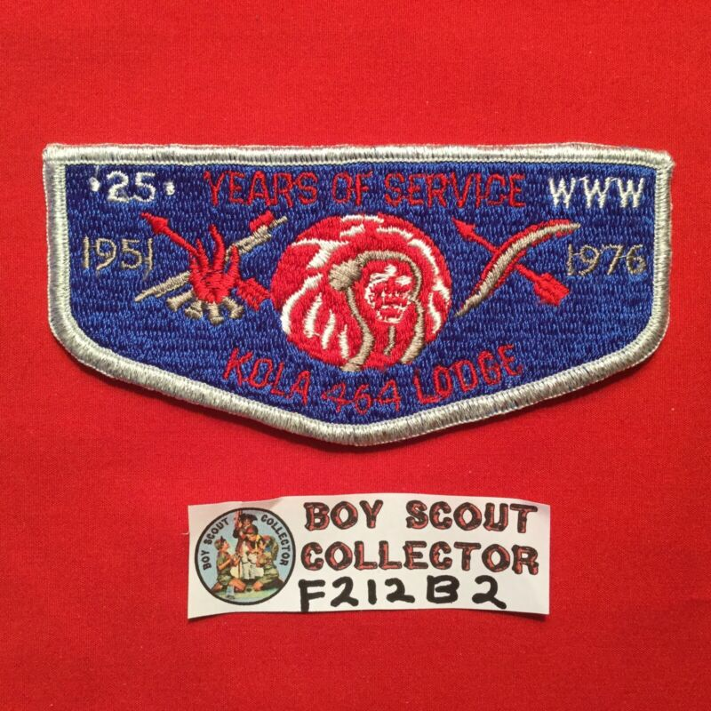 Boy Scout OA Kola Lodge 464 1976 25 Years Order Of The Arrow  Pocket Flap Patch