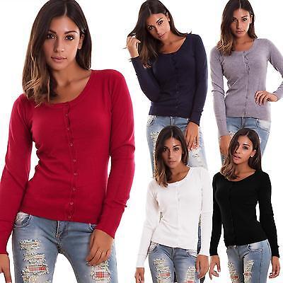 Strickjacke Frau Pullover Pullover Jersey Buttons Lange Ärmel Neu Fz-9003 - Jersey Lange Ärmel Pullover
