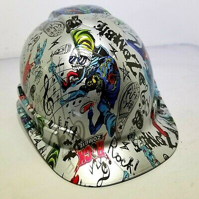 Hard Hat Custom Hydro Dipped Osha Approved Rock Zombie Fk Yeah New