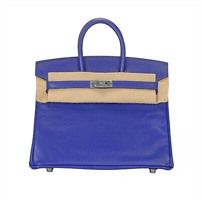 Hermes 25cm Electric Bleu Calfskin Leather Birkin Bag, Palladium Hardware
