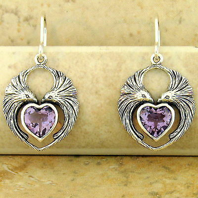GENUINE BRAZILIAN AMETHYST HEART-SHAPED LOVEBIRD EARRINGS 925 SILVER,       #951