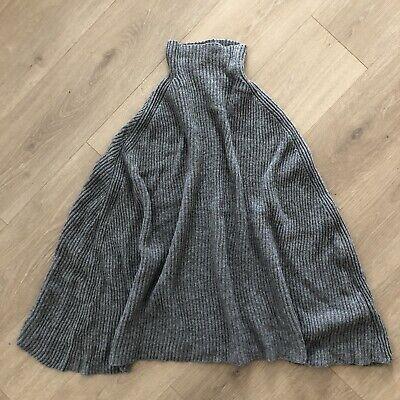 Jil Sander Womens Size 34 Mock Neck Knit Poncho Sweater 100% Camel Gray