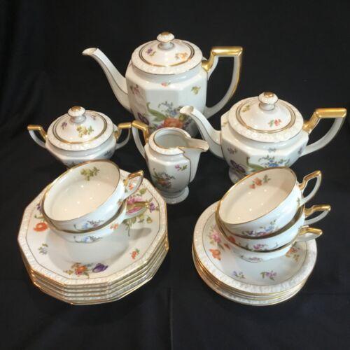 Beautiful Vintage Rosenthal China Tea & Coffee Set Dresden Flowers & Gold Maria