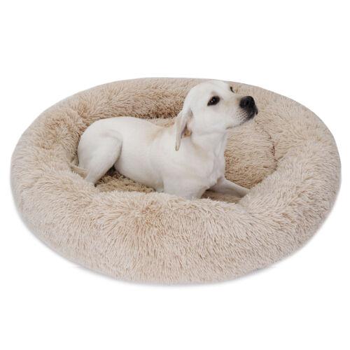 36″x36″ Beige Donut Faux Fur Cat Dog Pet Bed Machine Wash Dryer Soft Warm Beds
