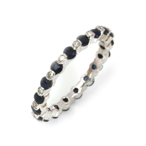 0.9 ctw Natural Blue Sapphire & Diamond Solid 14k White Gold Eternity Band Ring