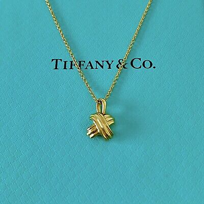 """Tiffany & Co. 18k Yellow Gold Signature Cross X Necklace 18"""" With Packagings."""