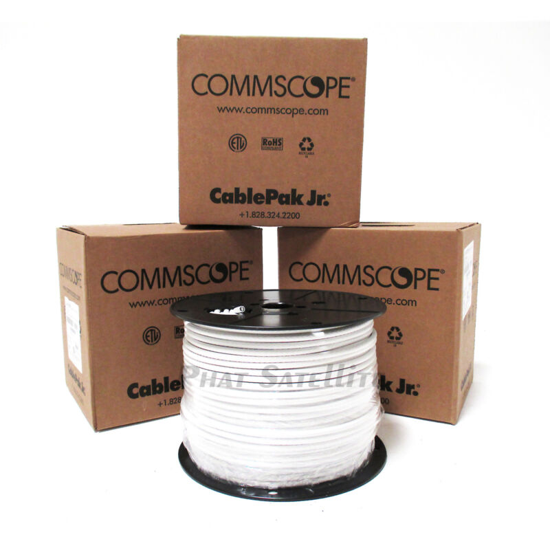 CommScope 1500' RG6 Coax Cable WHITE 3x 500ft SPOOL TELEVISION coaxial WIRE ROLL