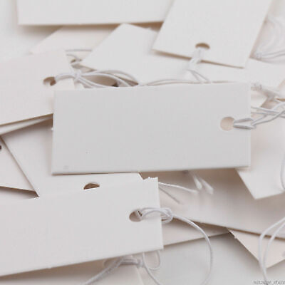 100pcs Price Tags Rectangle Jewelry Label With Elastic String Card Retail Acc