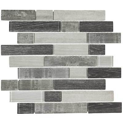 Modern Linear Grey Glass Mosaic Tile Backsplash Kitchen Wall Bathroom MTO0335 ()