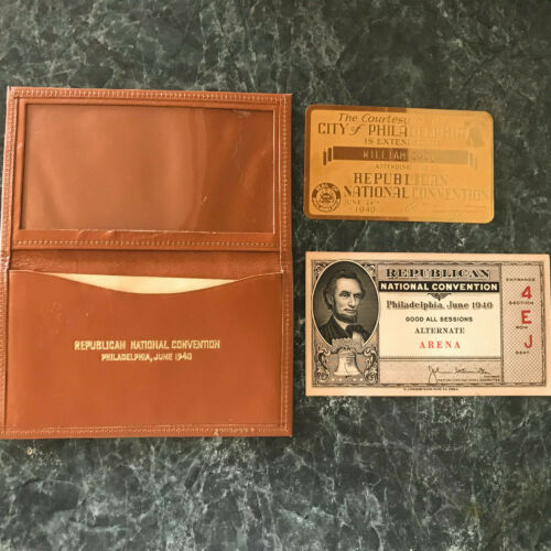 1940 Repubican National Convention Ticket, brass courtesy card, leather case EXC