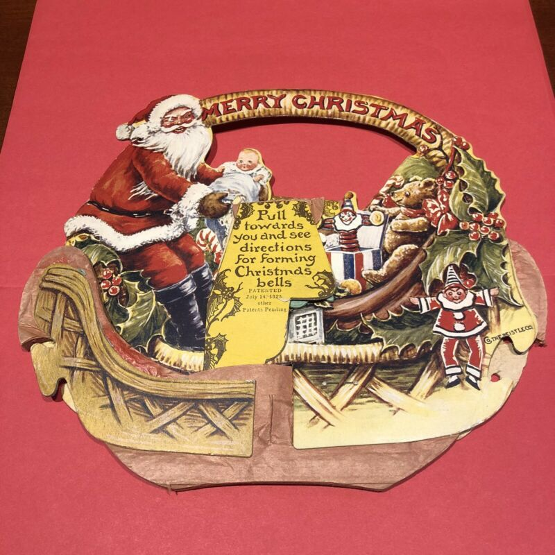 Antique Beistle Santa Claus Honeycomb Fold-out Display Card   1925