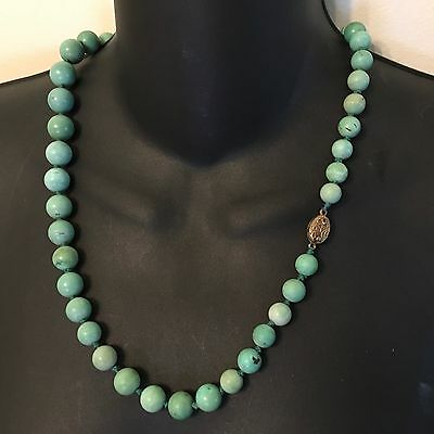 Chinese Natural Turquoise Carved Carving Bead Necklace Silver Knot 23.5