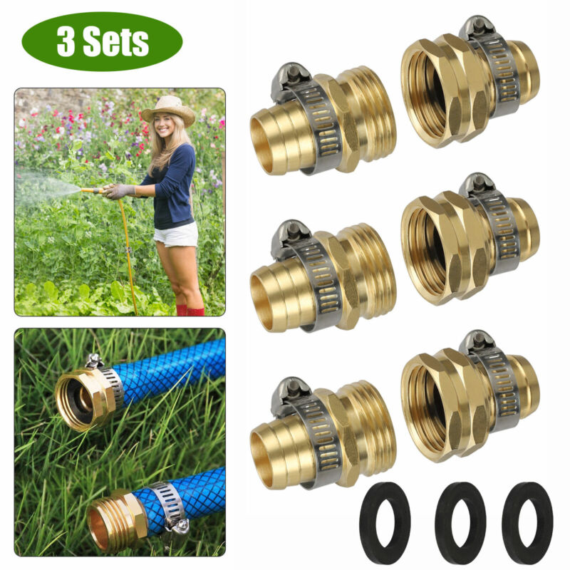 """3/4"""" Garden Brass Mender End Repair Kit Water Hose Male Female Quick Connector"""