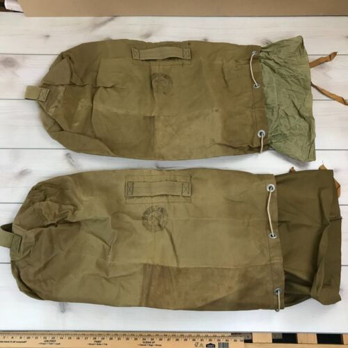 2 Vintage BSA Duffel Bags Canvas Boy Scouts America Laundry Gear Carry