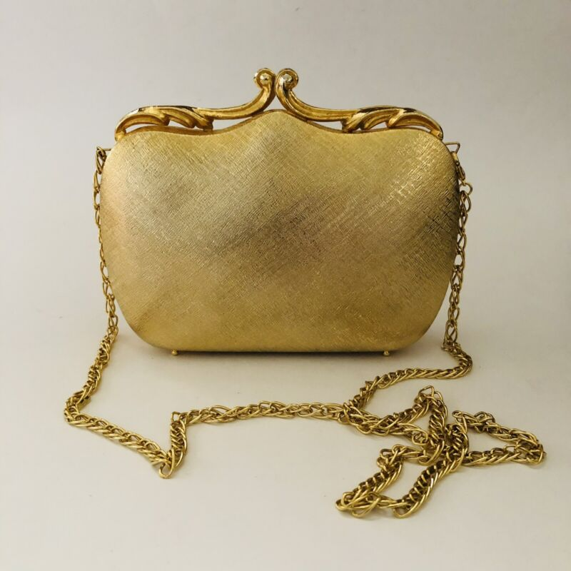 Vintage gold metal Italian evening purse exclusively for Walborg Very Rare