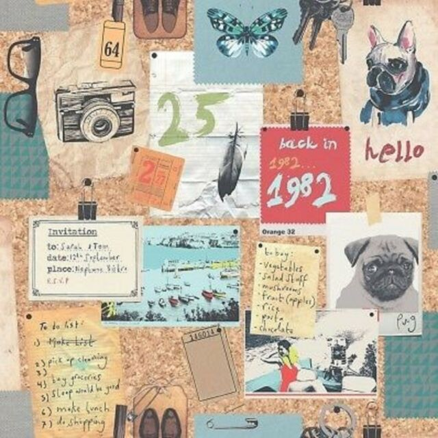 New Rasch Pinboard Dogs Pugs Quality Feature Wallpaper Multicoloured - 238808