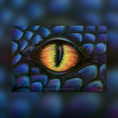 -ORIGINAL- HAND PASTELS PAINTING DRAGON EYE PICTURE BLUE ART ARTIST FANTASY A4