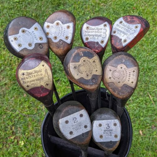 Vintage Antique Lot Golf Woods Driver Brassie Spoon  *9 clubs, original, as is*