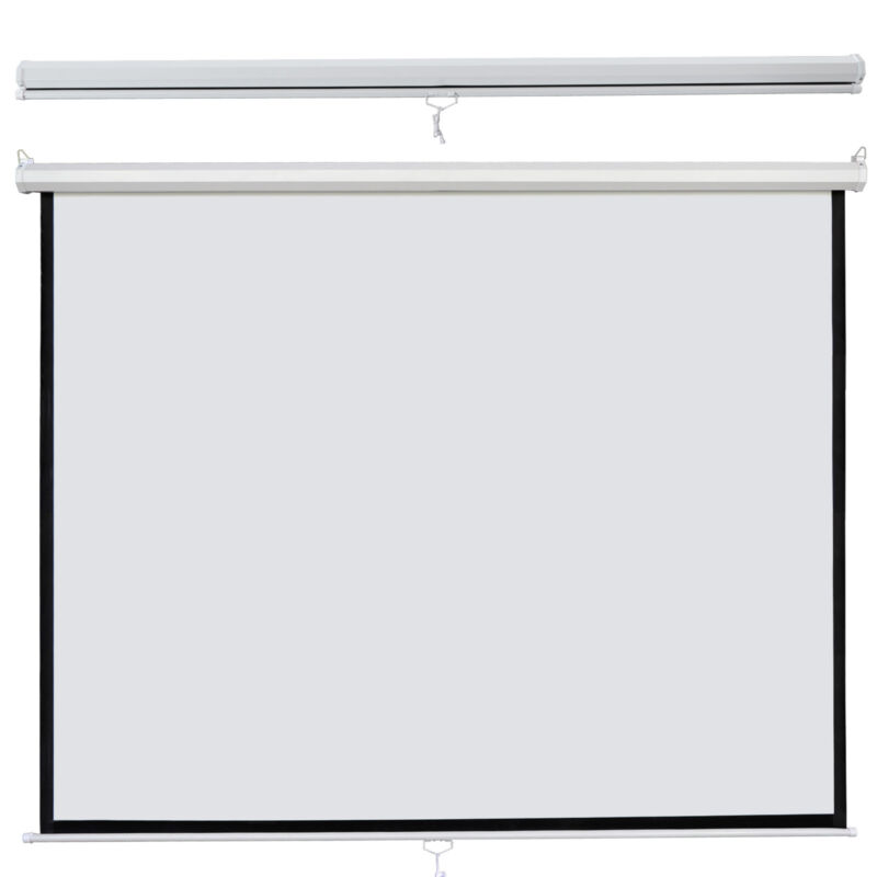 """Screen Matte White HD Movie Theater Manual Pull Down Projection 120"""" 1:1"""