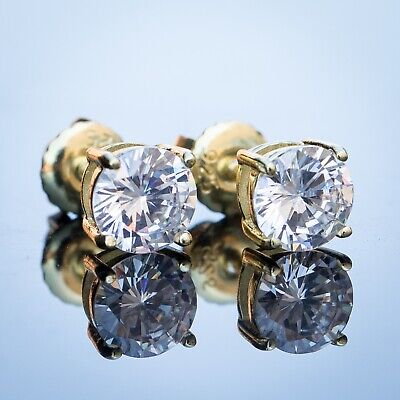 Small Round Princess Cut Solitaire 14K Gold Plated Stud Screw Back Earrings